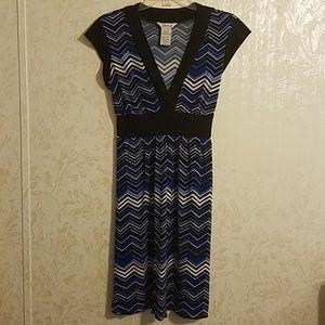 Blue and Black v neck dress